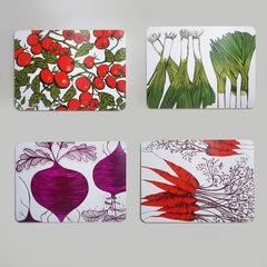 Lush Designs set of Four vegetable print table mats, printed with tomatoes, leeks, beetroot and carrots