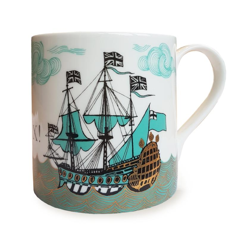 Lush designs bone china mug depicting a ship in full sail in turquoise, black and gold.