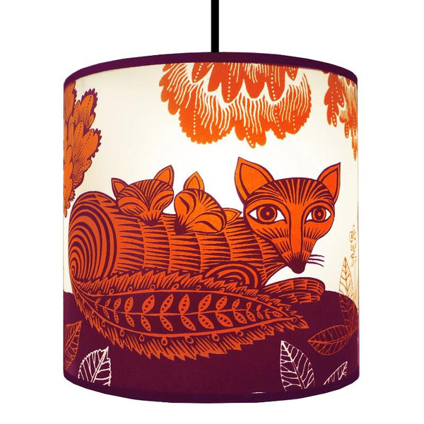 Fox & Cubs Lampshade - Orange/Plum