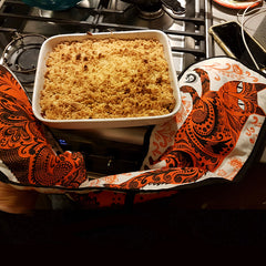 apple crumble and orange cat oven gloves
