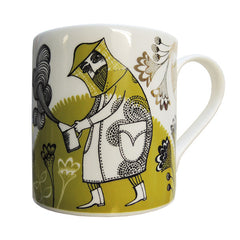 Lush Designs bone china mug with delicate and hunorous chartreuse green design of beekeeper, bees and flowers embellished with gold lustre