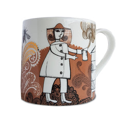 Bone china mug with gold-embellished print of beekeeper
