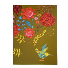 Lush designs greetings card with picture of singing bird and flowers