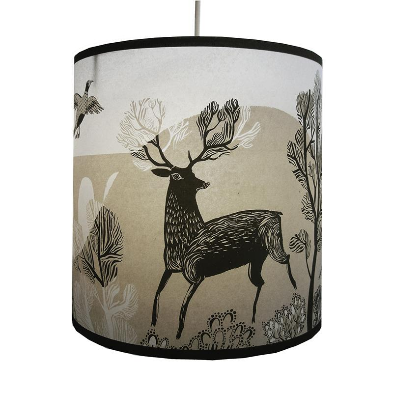 Lush Designs lampshade with print of stag in black and brown