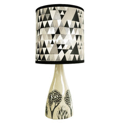 Cream ceramic map base with black print of trees shown with triangle patterned shade in greys and black