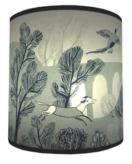 Smaller stag print shade. This view depicts a running dog and a pheasant