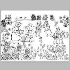 Downloadable print of dogs and cats having a garden party