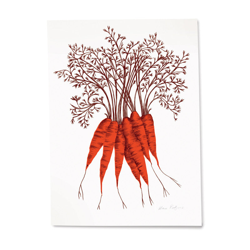 Lush Designs print of a bunch of orange carrots on heavy textured paper