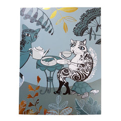 Lush designs Pussy cat card showing two cats drinking tea and eating a bird