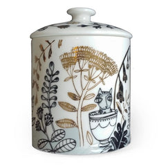 bone china cat design pot with lid
