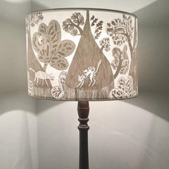 Lush Designs pale grey and white cat shade on a customer's lamp base