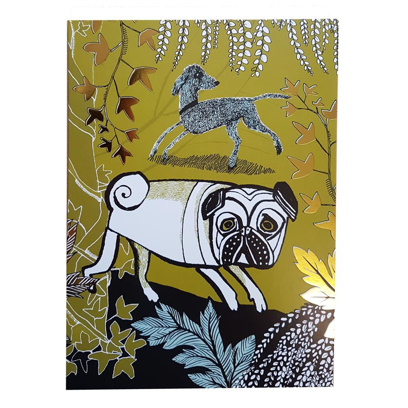 Lush Designs Dog print greetings card featuring a white pug
