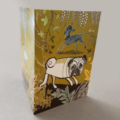 Lush Designs dog print card with pug and bedlington lurcher and french bulldog