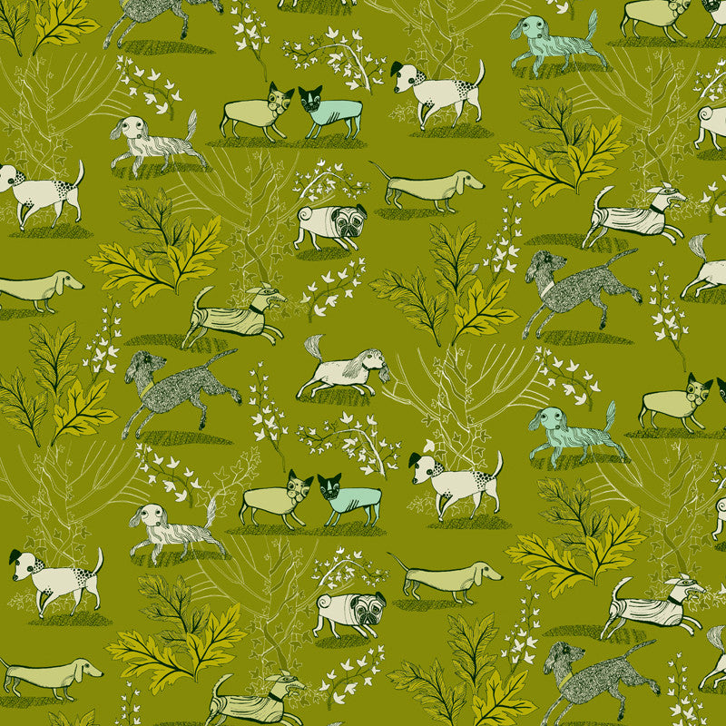 Fresh green gift wrap paper with print of dogs