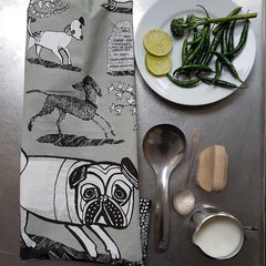 Lush Designs tea towel with pug dog print in grey