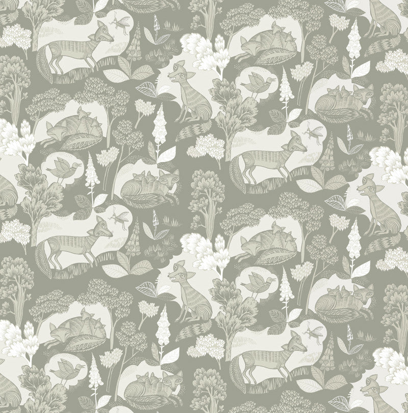 Lush Designs fox print wrapping paper in soft greys and beige