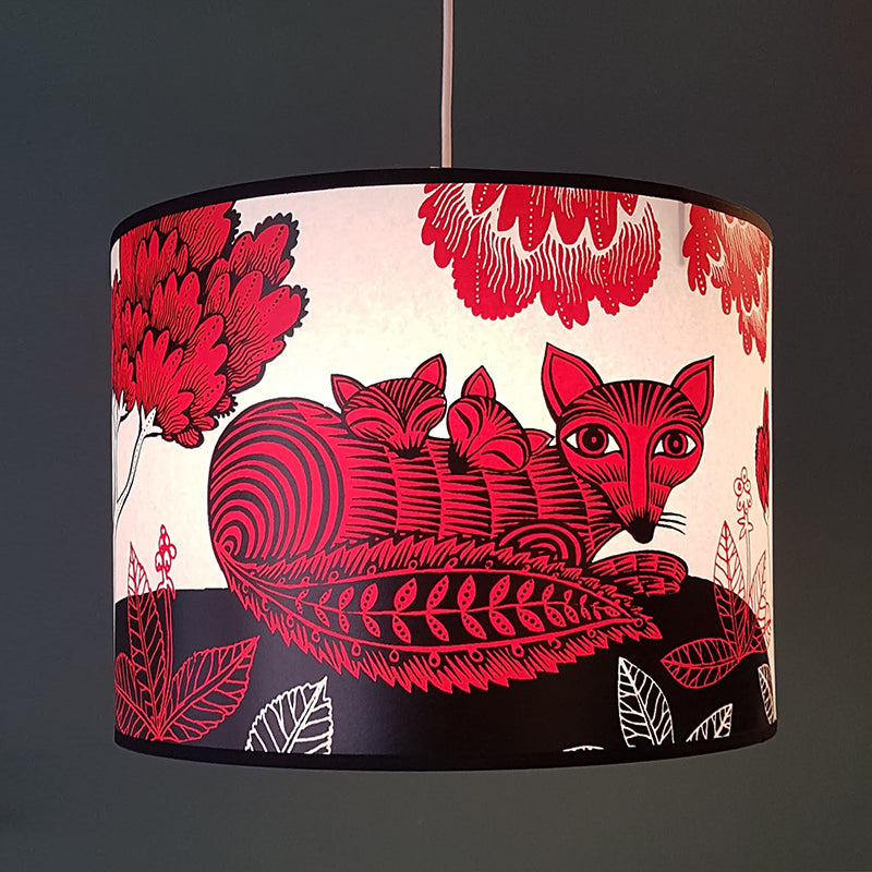 Large Fox and Cubs Lampshade Red SECOND (pendant)