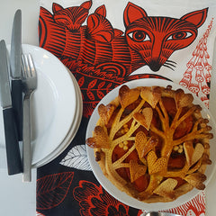 Lush Designs fox and cubs tea towel with fancy pie