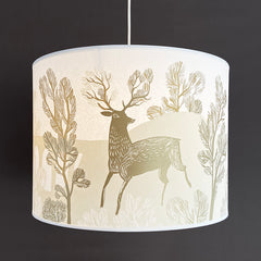Cream and gold lampshade with print of a stag
