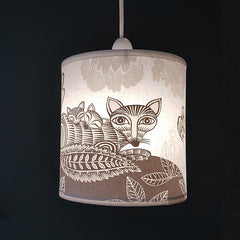 Fox & Cubs Lampshade - Cream/Pale Grey