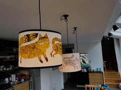 Lush designs kitten print lampshades in a kitchen setting