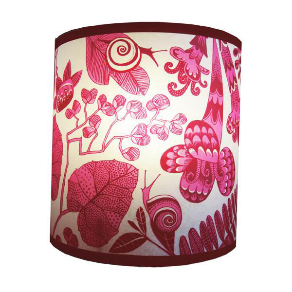 Flowers & Snails Lampshade - Pink