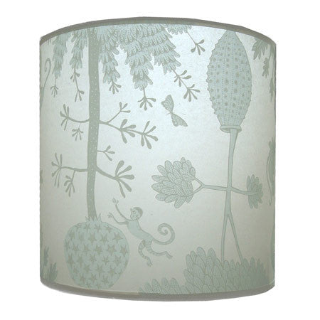 Lush Designs duck-egg blue lampshade with victorian inspired monkey print