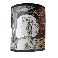 smallest owl print lamp shade in black and cream