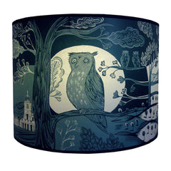 Lush Designs large owl print lamp shade in deep blue