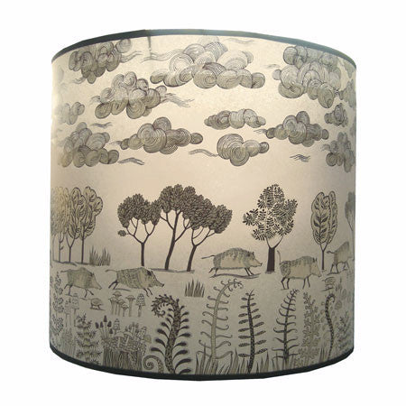 Extra large shade with print of wild boars running through the trees in black and beige