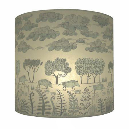 Wild boar with Clouds Lampshade - Pale Blue