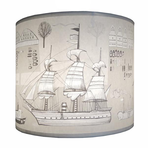 Big Ship Lampshade - Cream/Grey