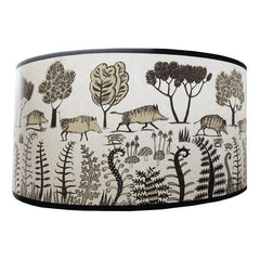 Lush Designs lampshade with print of wild boars in black and brown
