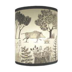 Lush Designs lampshade with a print of wild boars in black and brown