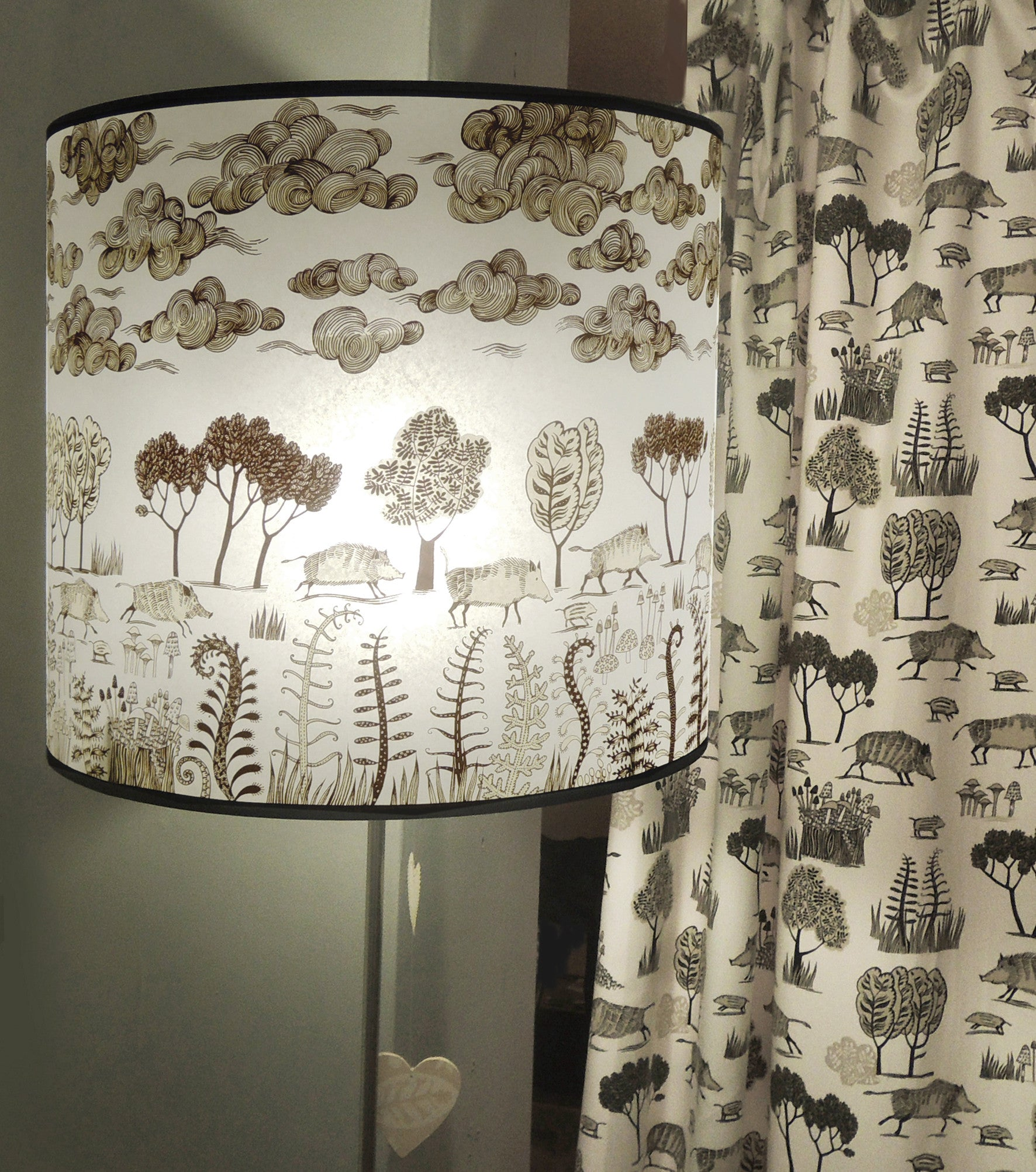 Wild boar with Clouds Lampshade - Brownish black  – Lush Designs