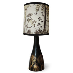 Lush Designs ceramic lam base in black with gold print.