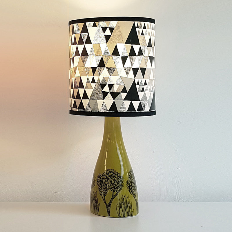 Lush Designs Olive Green ceramic lamp base with geometric print shade