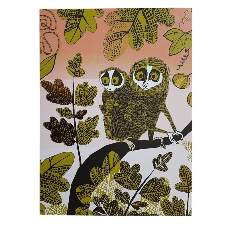 Lush Designs greetings card with print of Lorises in the jungle