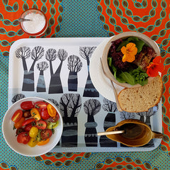 Lunch of salad on a Lush Designs tray patterned with trees