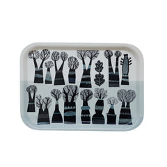 Lush Designs tray printed with black, leafless trees on a patterned pale blue and white background