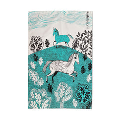 Lush Designs unicorn print tea towel in turquoise
