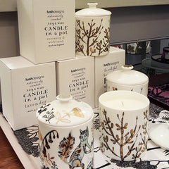 Lush Designs scented candle in bone china pots with lovely prints and gold lustre