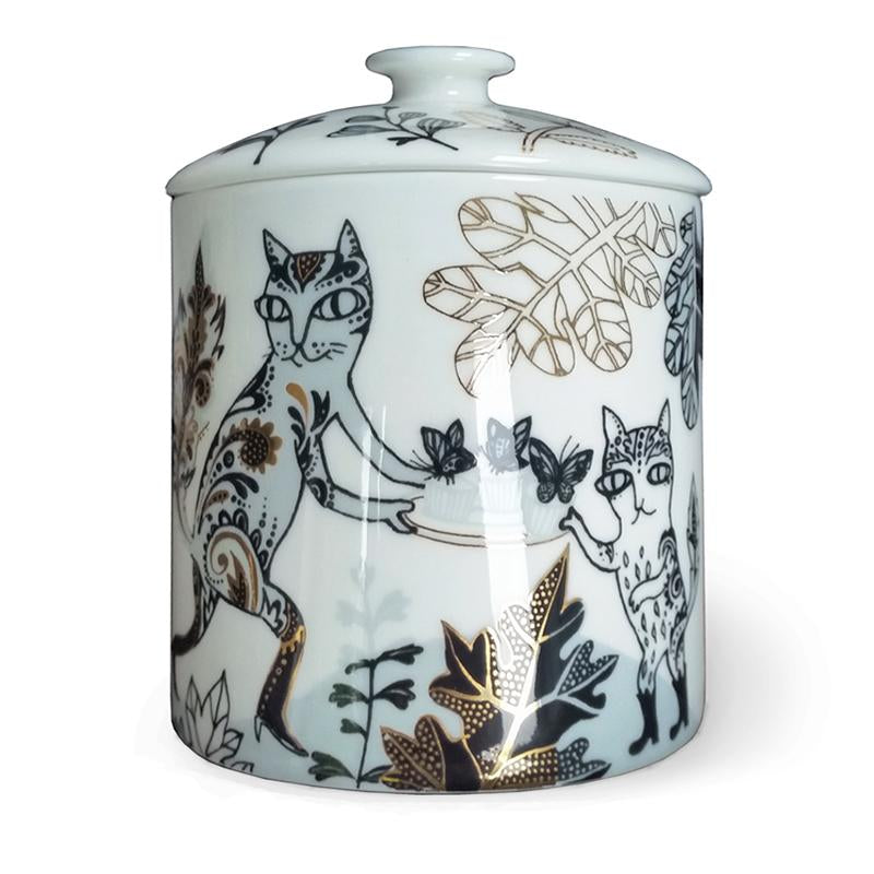 Lush Designs bone china pot illustrated with cats having cakes