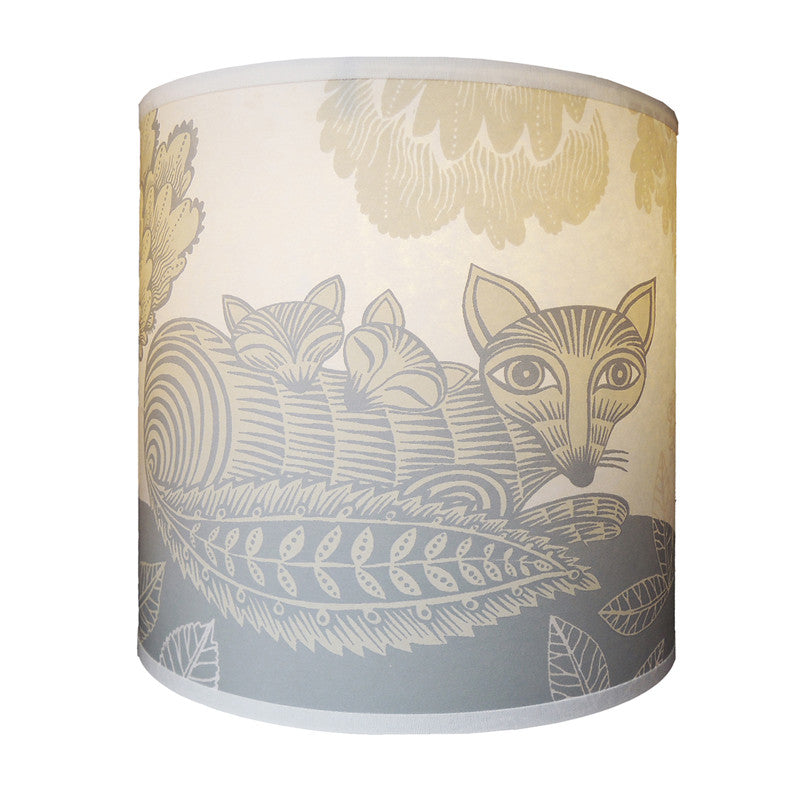 Lush Designs cream and pale grey printed shade with design of fox and cubs and a little bird