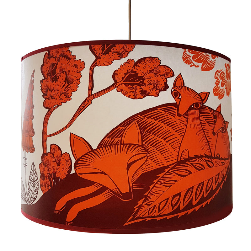 Lush designsLarge lampshade with print of sleeping fox and cubs in deep orange and plum