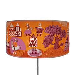 Tudor Garden lampshade Orange/pink