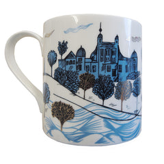 Lush Designs owl mug, reverse view shows print of Greenwich observatory