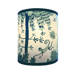 Lush Designs monkey print lampshades in shades of blue