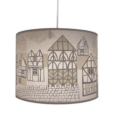 Lush Designs lampshade with print of half-timbered houses in shades of grey