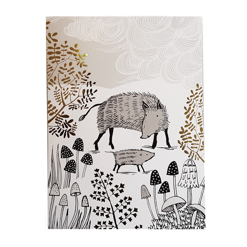 Lush Designs wild boar print card with gold foil embellishment